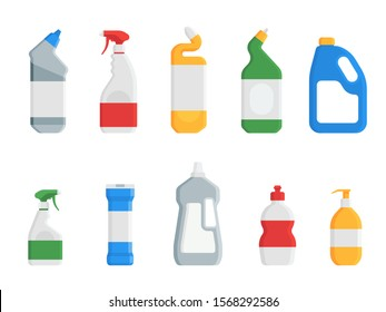 House cleaning products. Set of plastic detergent bottles isolated on white background