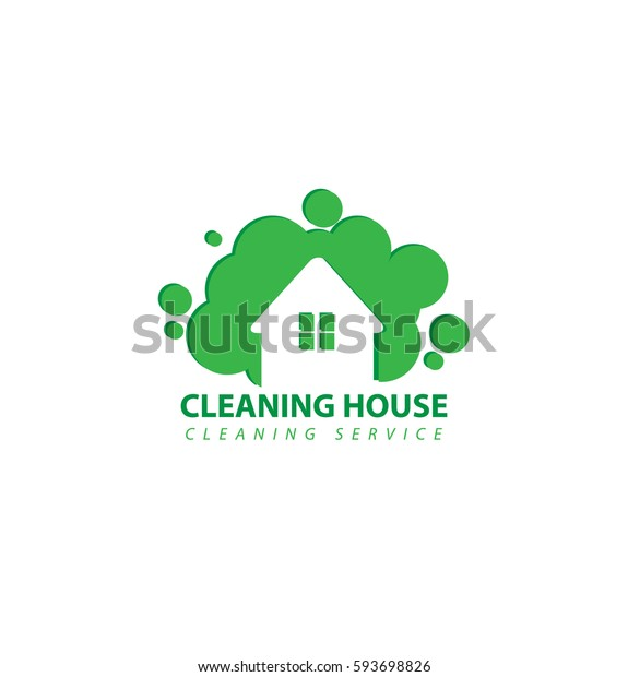 House of Cleaning Service Business Logo Vector Green