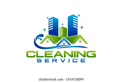 House Cleaning Service company badge, emblem. Vector illustration