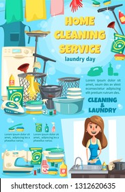 House cleaning service and laundry, dishwashing. Vector washing and sewing machine, iron and detergent, gloves and sponge, housewife near sink. Sprayer and brush, thread and linen, basin and towel