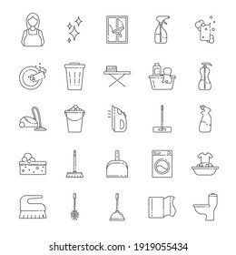House cleaning service line art icon set. Vector illustration of flat signs in thin line style. Concept of Services for cleaning and laundry.