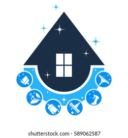 House cleaning service logo, set. Abstract concept.Vector illustration on white background.