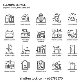 House cleaning service, square icon set. The illustrations are a vector, editable stroke, thirty-two by thirty-two matrix grid, pixel perfect files. Crafted with precision and eye for quality.
