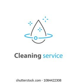 House cleaning services, plumbing repair logo, home hygiene, vector thin line icon