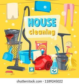 House cleaning services, tools for keeping home clean. Vector vacum cleaner and basket, brushes and gloves, detergent for washing and disinfection. Housecleaning and washing supplies