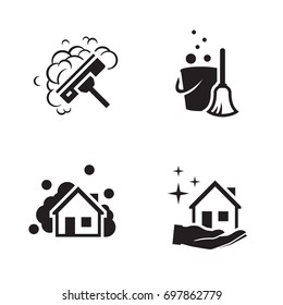 House cleaning services vector logo. Black icon on a white background