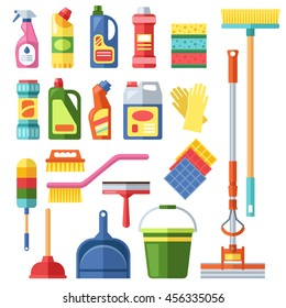 House cleaning tools and products flat vector icons set. Household tool elements bottle and boxes pack isolated on white background. Brushes, rags, buckets