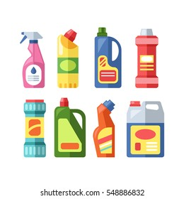 House cleaning tools vector bottle and boxes pack isolated on white background. Household tool elements