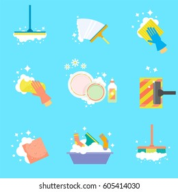 House cleaning. Wipe the windows, wash clothes, vacuum the floor, wash dishes. Vector icons in a flat style isolated on a white background.