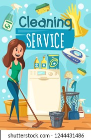 House cleaning work, woman mopping a floor. Vector household appliance and duster brush, bucket and detergent soap or glass polisher. Washing machine and electric iron, broom and scoop