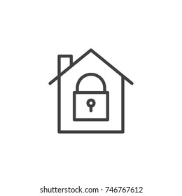 House with closed lock icon vector, filled flat sign, solid pictogram isolated on white. Home protection with locked padlock symbol, logo illustration