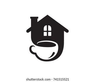 House Coffee Logo Template Design Vector, Emblem, Design Concept, Creative Symbol, Icon