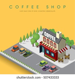 House Coffee Shop Cafe in isometric view. Cafe isometric building. Coffee shop with parking. Flat isometric icon. Welcome to cafe. Vector illustration. Coffee shop with road and tree.