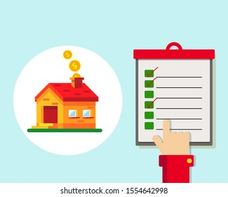 House, coins and check list with hand point on the paper list. Cartoon vector flat design.