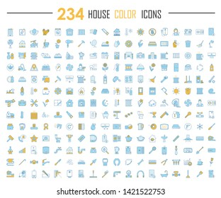 House color icons big set. Household, domestic items. Plumbing, construction tools. Cleaning service, housework. Real estate, property. Home appliances and furniture. Isolated vector illustrations