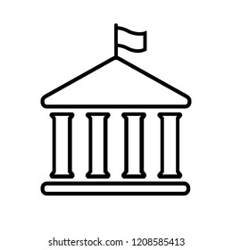 House with columns and flag icon. Building of government, embassy, official institution or establishment with flying banner. Vector Illustration