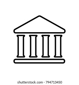 House with columns line icon. Building of bank, government, court house, educational or cultural establishment with classic Greek columns. Vector Illustration