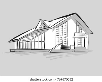 House with conservatory sketch. Concept Illustration, Hand drawn vector image.