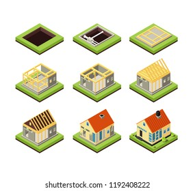 House construction. Building constructing phases. Rural home creation stage. Isometric vector icons project construction home, residential construct 3d illustration