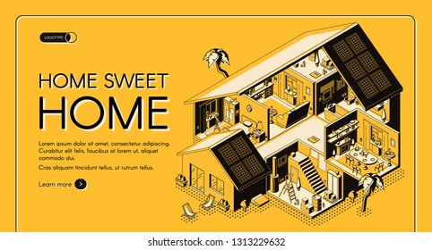 House construction company isometric vector web banner. Modern cottage storey plan, villa rooms cross section interiors line art illustration. Architecture contracting service landing page template