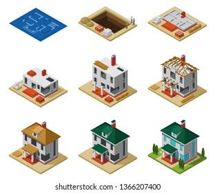 House construction phases from drawing to finished building isometric icons set isolated vector illustration