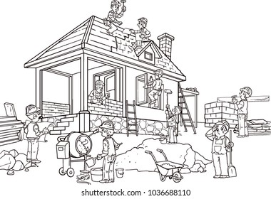 House construction, scene with workers, professional tools, building equipment