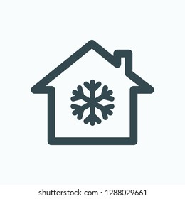 House cooling icon, house cooling system vector icon