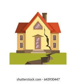House cracked in earthquake