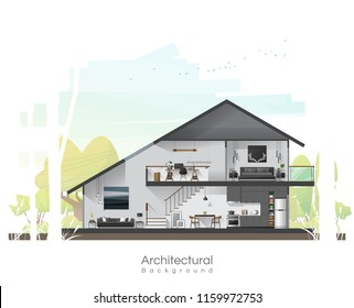 House cross section with furniture and peaceful landscape background , vector , illustration