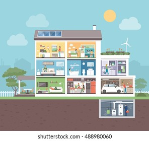 House cross section with room interiors and people, domestic lifestyle concept