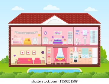 House cross section. Vector. Home inside with bedroom, living room, kitchen, dining, bathroom, nursery. Rooms interiors. Cartoon house in cut with roof, pool, tree. Cutaway illustration in flat design