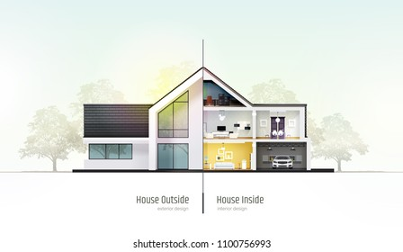 House in cross-section. Modern house, villa, cottage, townhouse with shadows. Architectural visualization of a three storey cottage inside and outside. Realistic vector illustration.