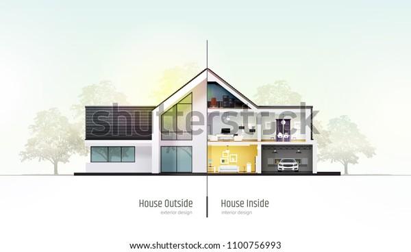 Image vectorielle de stock de Maison en coupe. Maison ...