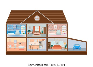 House cut. Detailed home interior with furniture. Kitchen, living room, bedroom, children's rooms for girls and boys.