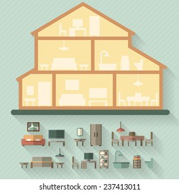 House in cut. Detailed modern house interior. Furniture for different rooms. Flat style vector illustration.