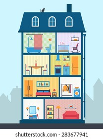 House in cut. Detailed modern house interior. Many rooms with furniture. Flat style vector illustration.