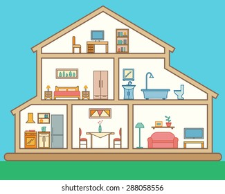 House in cut. Detailed modern house interior. Rooms with furniture.  Flat linear style vector illustration.