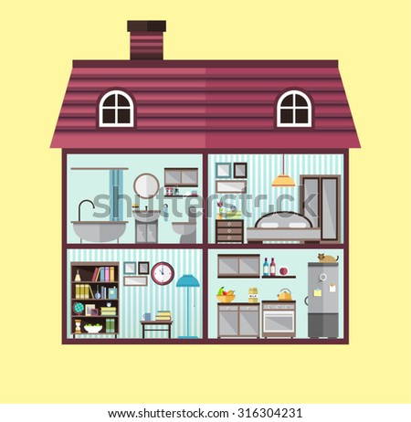 House Cut Detailed Modern House Interior Stock Vector (Royalty Free ...