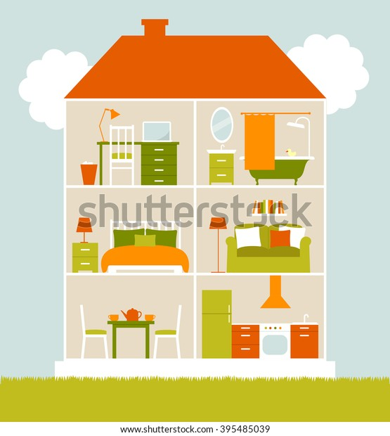 House Cut Interiors Bedroom Living Room Stock Vector