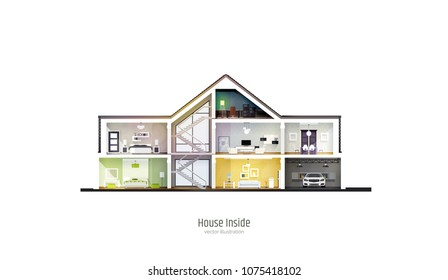 House in cut. Three-storey cottage inside with rooms, garage and modern interior with furniture. Modern house isolated on white background. Architectural visualization. Realistic vector illustration.