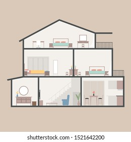 House in cut. Three-storey cottage inside with rooms, garage and modern interior with furniture.