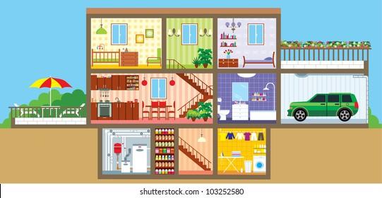 House in a cut. vector