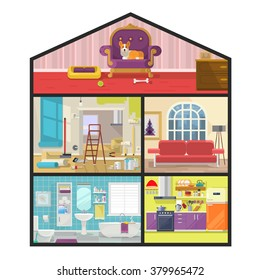 House in cut. Vector flat illustration