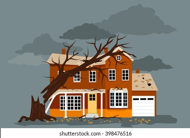 House damaged by a fallen tree, EPS 8 vector illustration, no transparencies