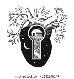House depicted in a keyhole inside an anatomical heart with vessels made in the form of growing trees. The concept of the idea that home is always with us, no matter where we are. Vector illustration.