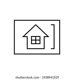 House design, house drawing sketch icon in flat black line style, isolated on white background