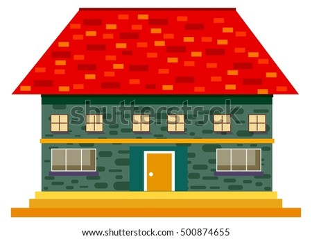 House Design Sketch Red Tile Roof Stock Vector Royalty Free