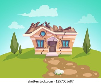 house destroyed facade Vector. Cracks in walls of home. Property insurance. Illustration of a cartoon country house in summer season