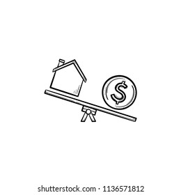 House and dollar on seasaw hand drawn outline doodle icon. Real estate, cost, finance, money, property concept. Vector sketch illustration for print, web, mobile and infographics on white background.