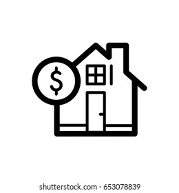 House and dollar simple vector icon. Black and white illustration of real estate. Outline linear icon.
